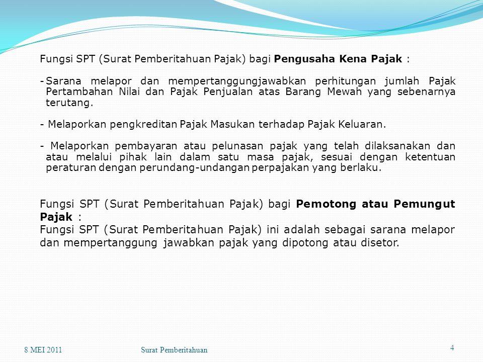 Fungsi SPT (Surat Pemberitahuan Pajak) bagi Pengusaha Kena Pajak : -Sarana melapor dan mempertanggungjawabkan perhitungan jumlah Pajak Pertambahan Nilai dan Pajak Penjualan atas Barang Mewah yang sebenarnya terutang.