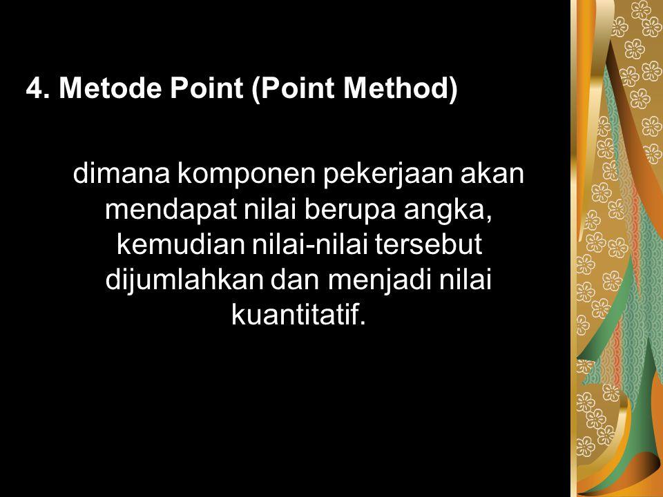 4. Metode Point (Point Method) dimana komponen pekerjaan akan mendapat nilai berupa angka, kemudian nilai-nilai tersebut dijumlahkan dan menjadi nilai