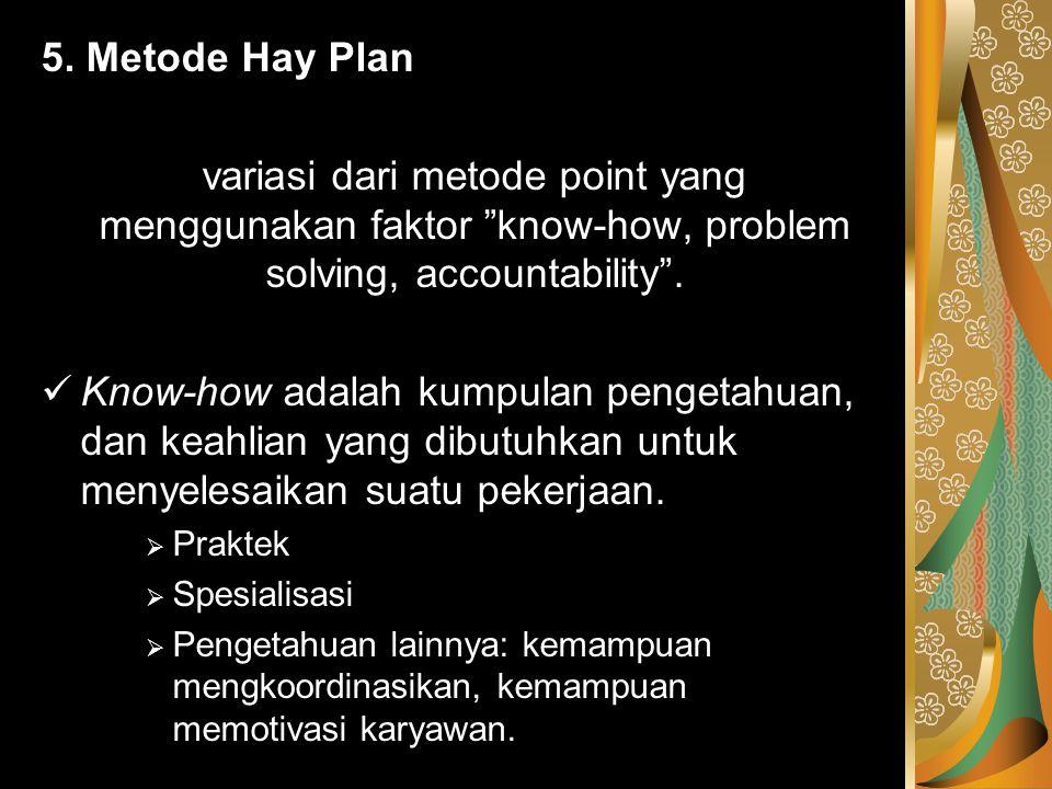 """5. Metode Hay Plan variasi dari metode point yang menggunakan faktor """"know-how, problem solving, accountability"""". Know-how adalah kumpulan pengetahuan"""