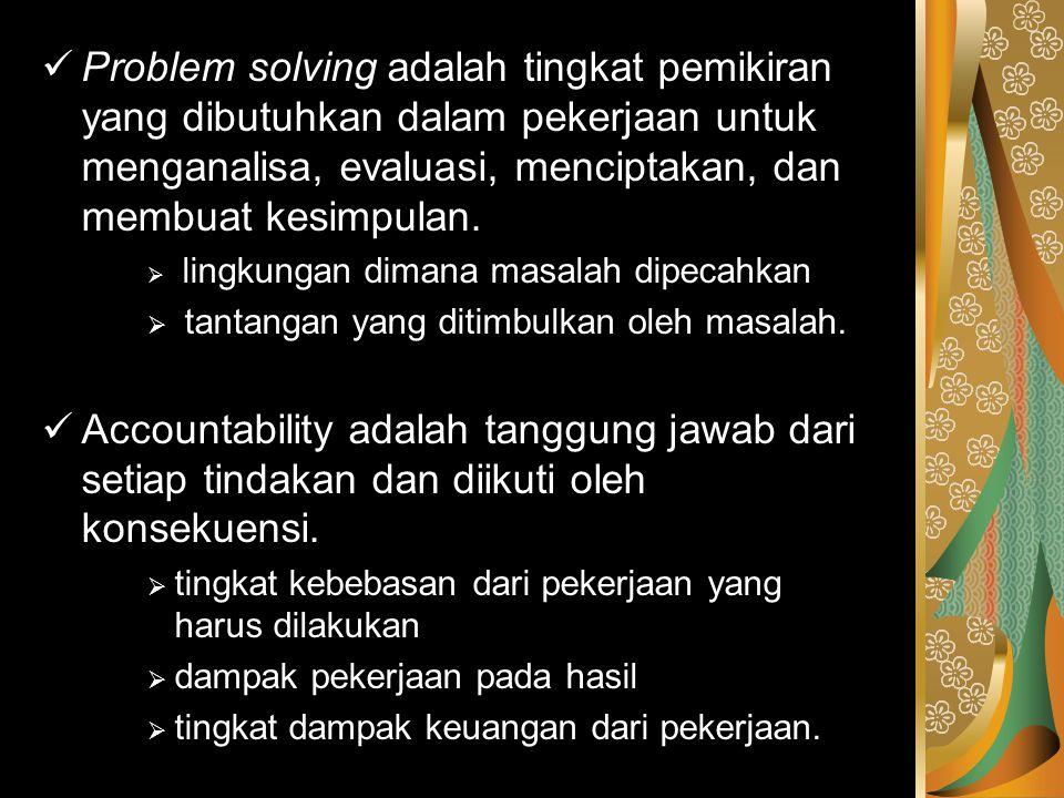 Problem solving adalah tingkat pemikiran yang dibutuhkan dalam pekerjaan untuk menganalisa, evaluasi, menciptakan, dan membuat kesimpulan.  lingkunga
