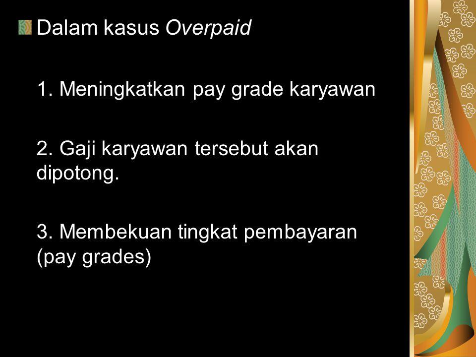 Dalam kasus Overpaid 1. Meningkatkan pay grade karyawan 2. Gaji karyawan tersebut akan dipotong. 3. Membekuan tingkat pembayaran (pay grades)
