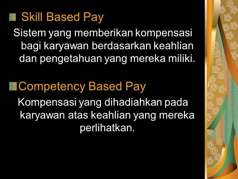 Skill Based Pay Sistem yang memberikan kompensasi bagi karyawan berdasarkan keahlian dan pengetahuan yang mereka miliki. Competency Based Pay Kompensa