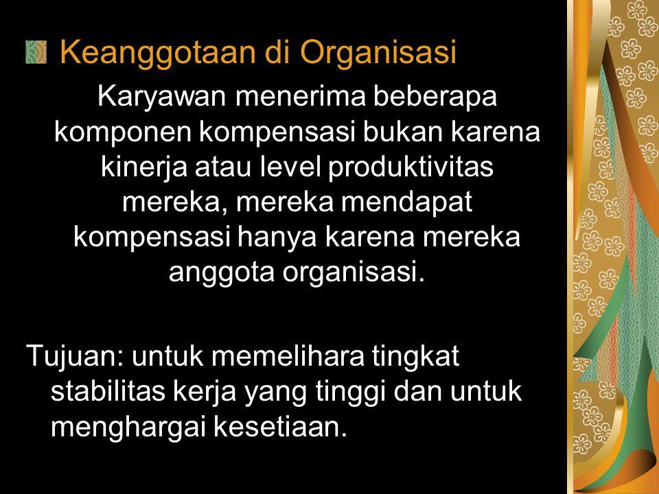 Keanggotaan di Organisasi Karyawan menerima beberapa komponen kompensasi bukan karena kinerja atau level produktivitas mereka, mereka mendapat kompens
