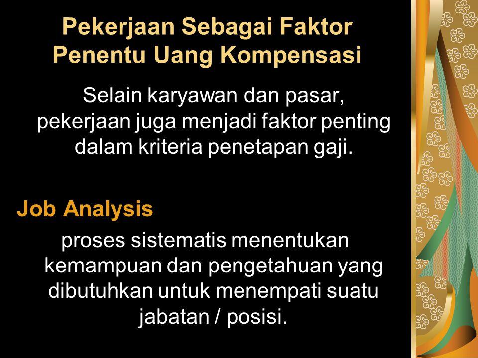 Pekerjaan Sebagai Faktor Penentu Uang Kompensasi Selain karyawan dan pasar, pekerjaan juga menjadi faktor penting dalam kriteria penetapan gaji. Job A
