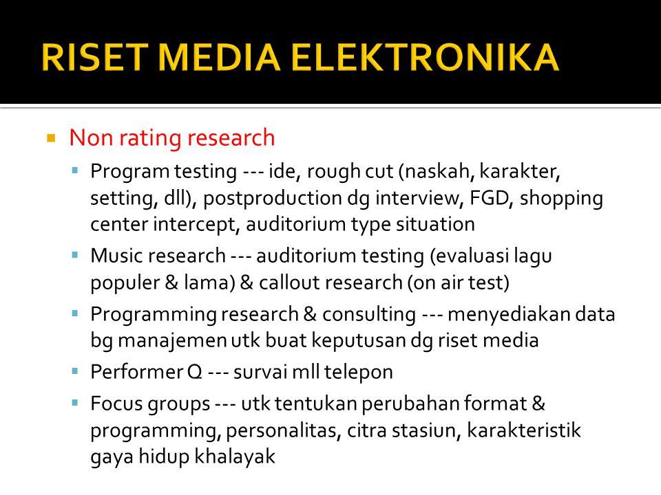  Non rating research  Program testing --- ide, rough cut (naskah, karakter, setting, dll), postproduction dg interview, FGD, shopping center interce