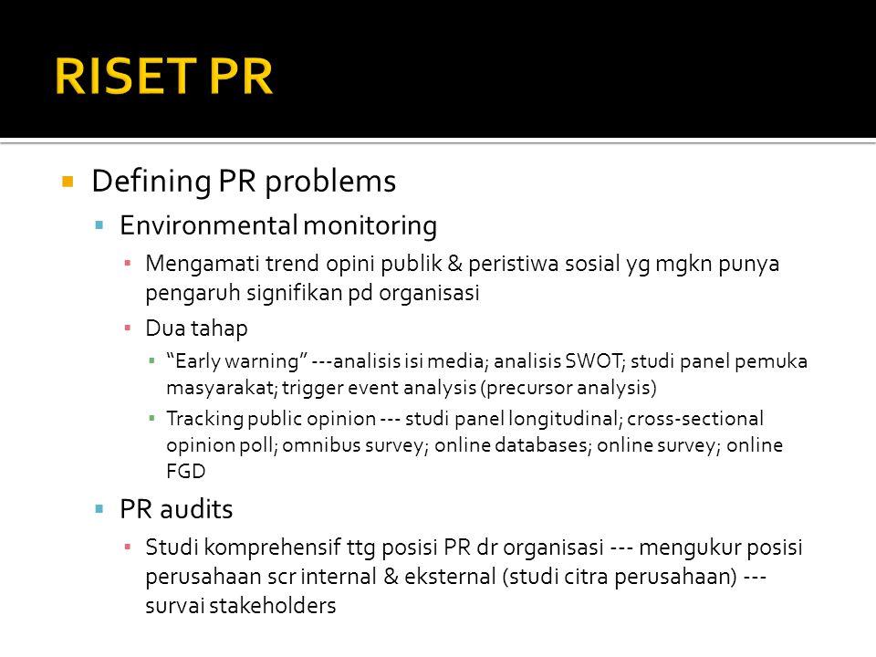  Defining PR problems  Environmental monitoring ▪ Mengamati trend opini publik & peristiwa sosial yg mgkn punya pengaruh signifikan pd organisasi ▪