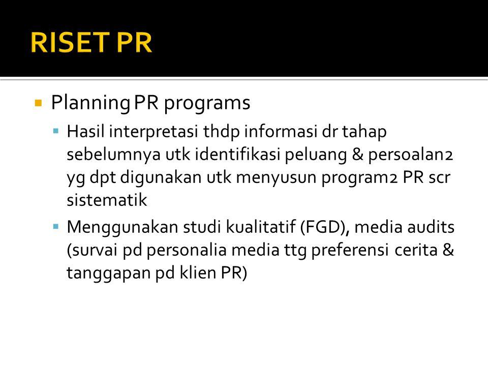  Planning PR programs  Hasil interpretasi thdp informasi dr tahap sebelumnya utk identifikasi peluang & persoalan2 yg dpt digunakan utk menyusun pro