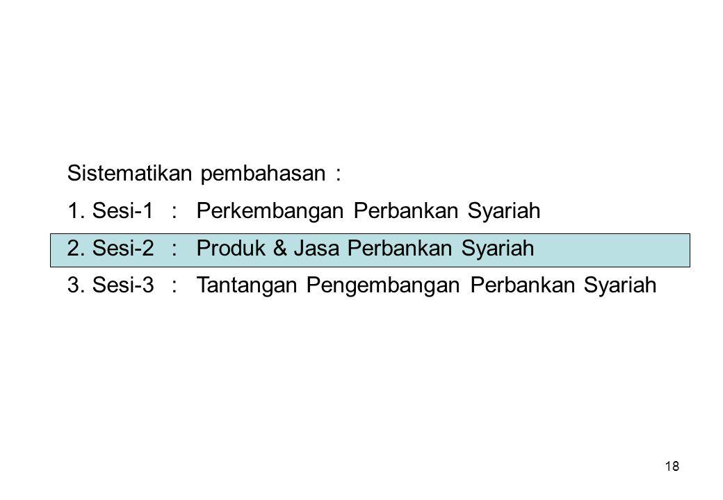 18 Sistematikan pembahasan : 1.Sesi-1:Perkembangan Perbankan Syariah 2.Sesi-2:Produk & Jasa Perbankan Syariah 3.Sesi-3:Tantangan Pengembangan Perbanka