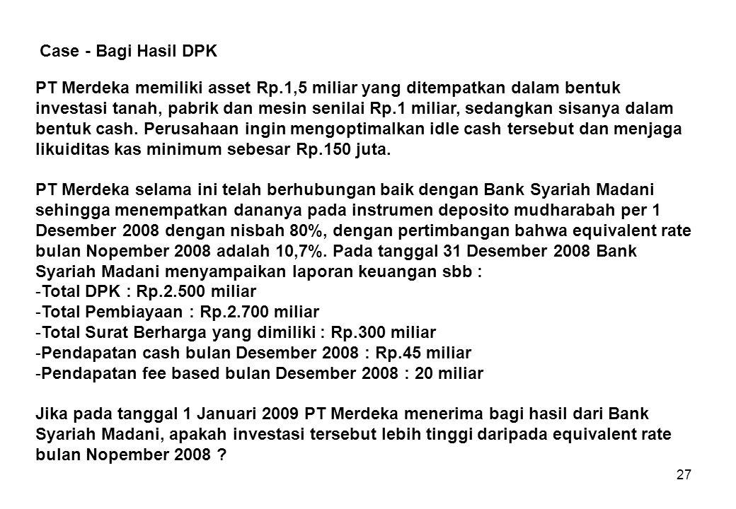 27 PT Merdeka memiliki asset Rp.1,5 miliar yang ditempatkan dalam bentuk investasi tanah, pabrik dan mesin senilai Rp.1 miliar, sedangkan sisanya dala