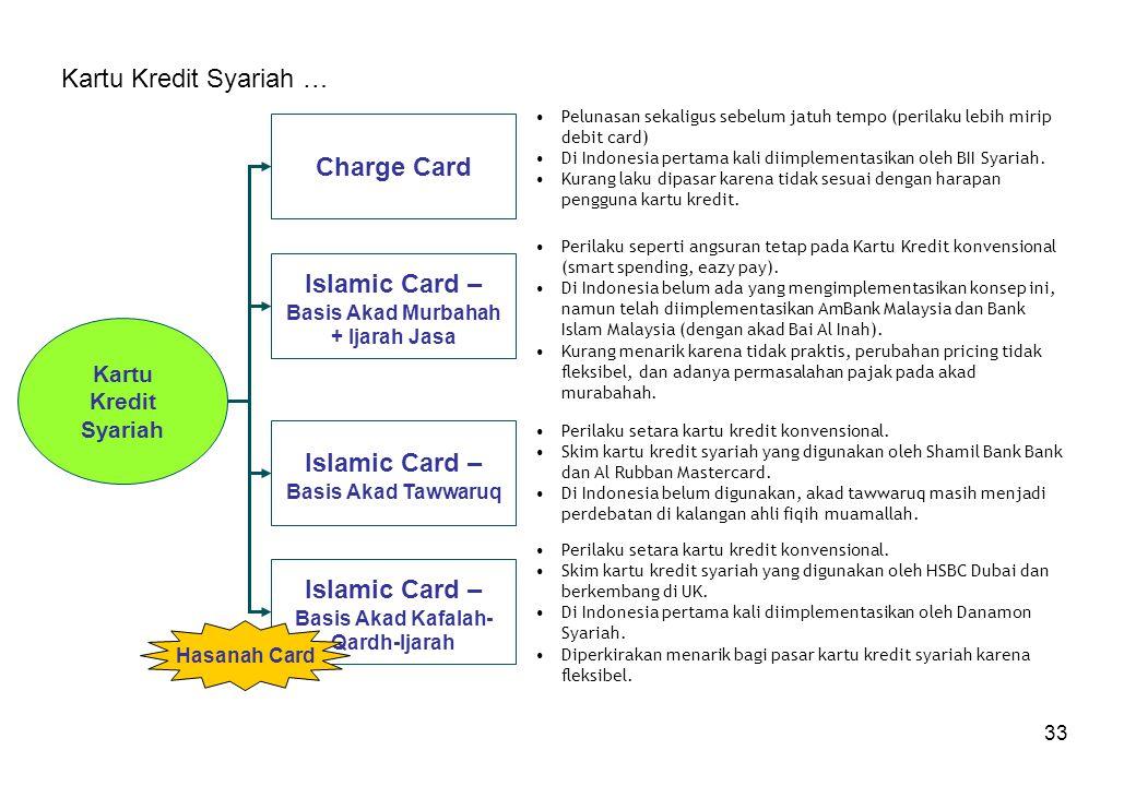 33 Kartu Kredit Syariah … Kartu Kredit Syariah Charge Card Islamic Card – Basis Akad Murbahah + Ijarah Jasa Islamic Card – Basis Akad Kafalah- Qardh-I