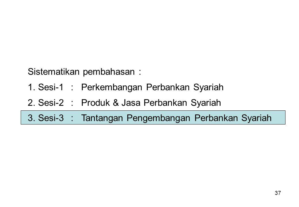 37 Sistematikan pembahasan : 1.Sesi-1:Perkembangan Perbankan Syariah 2.Sesi-2:Produk & Jasa Perbankan Syariah 3.Sesi-3:Tantangan Pengembangan Perbanka