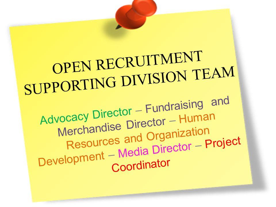 Why do we need YOU? Bekerja teknis Membantu tugas masing – masing Supporting Division terkait
