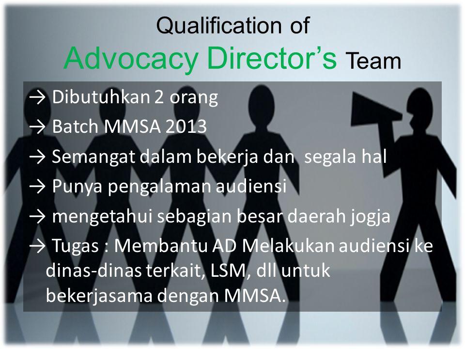 Qualification of Fundraising and Merchandise Director's Team D ibutuhkan 3 orang MMSA batch 2012 and 2013 Pekerja keras Mengerti daerah jogja Kreatif Pengalaman dibidang fundrising Tugas: 1.Membantu FnMD berjualan 2.Membantu merancang merchandise MMSA 3.Mewakili kehadiran FnMD dalam rapat project jika FnMD sedang berhalangan 4.Membantu FnMD dalam sponsorship