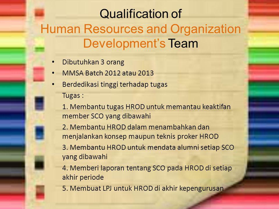 Qualification of Human Resources and Organization Development's Team Dibutuhkan 3 orang MMSA Batch 2012 atau 2013 Berdedikasi tinggi terhadap tugas Tu