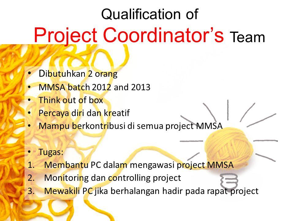 Qualification of Project Coordinator's Team D ibutuhkan 2 orang MMSA batch 2012 and 2013 Think out of box Percaya diri dan kreatif Mampu berkontribusi