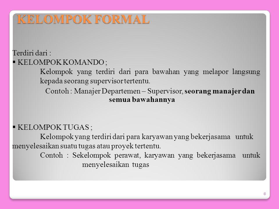 TIPE-TIPE KELOMPOK 7  KELOMPOK FORMAL ; Kelompok yang sengaja dibentuk oleh pihak manajemen untuk melaksanakan suatu pekerjaan tertentu.  KELOMPOK I