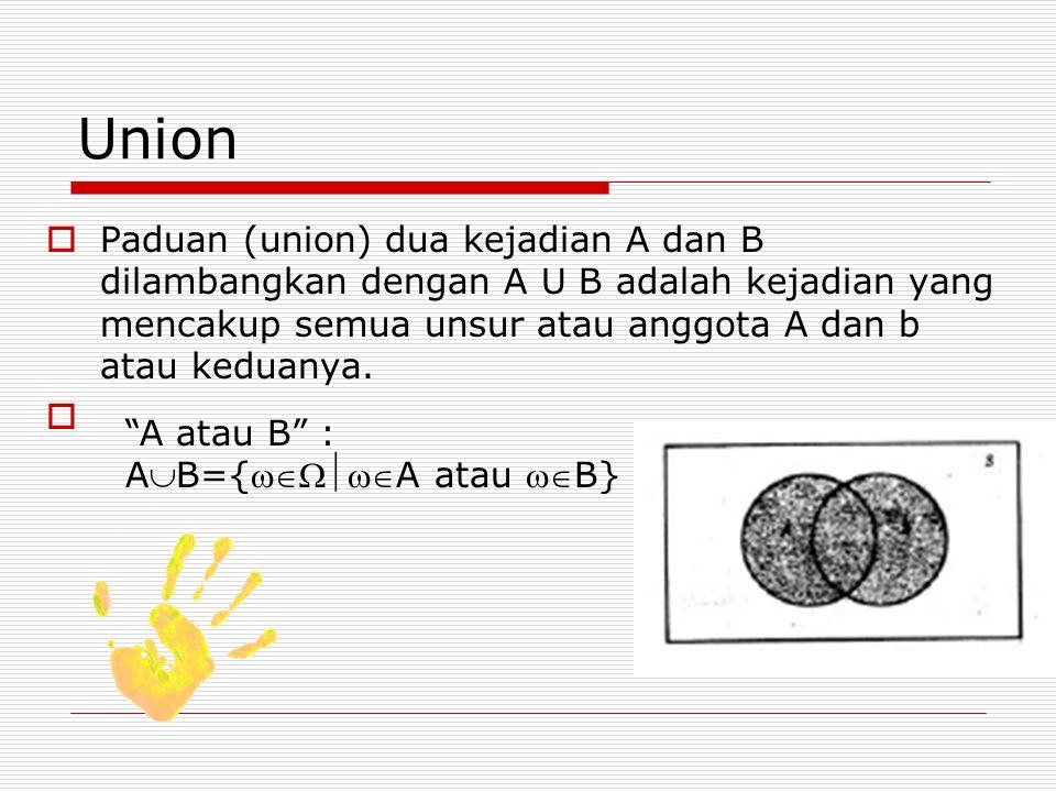 Union  Paduan (union) dua kejadian A dan B dilambangkan dengan A U B adalah kejadian yang mencakup semua unsur atau anggota A dan b atau keduanya. 