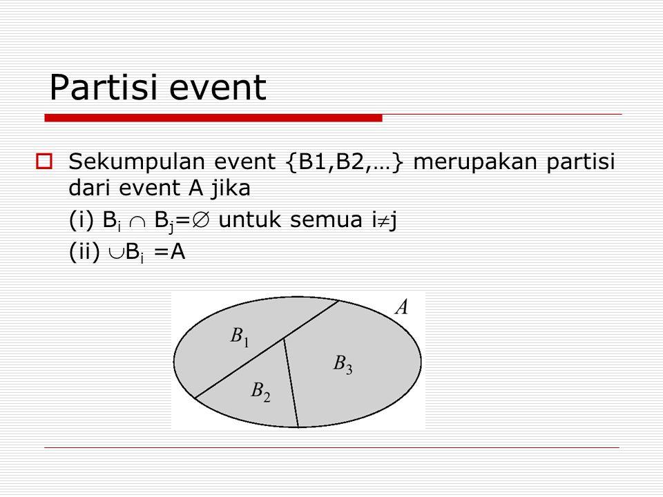 Partisi event  Sekumpulan event {B1,B2,…} merupakan partisi dari event A jika (i) B i  B j = untuk semua ij (ii) B i =A