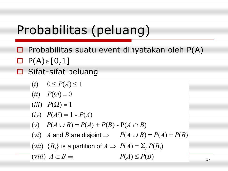 Probabilitas (peluang)  Probabilitas suatu event dinyatakan oleh P(A)  P(A)[0,1]  Sifat-sifat peluang 17