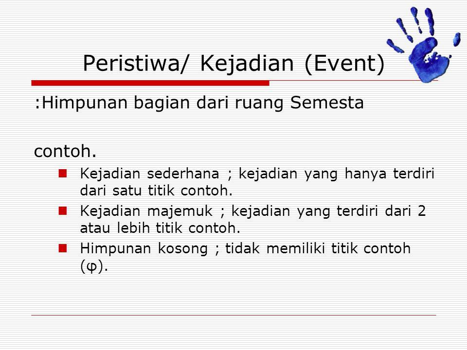 Peristiwa/ Kejadian (Event) :Himpunan bagian dari ruang Semesta contoh. Kejadian sederhana ; kejadian yang hanya terdiri dari satu titik contoh. Kejad