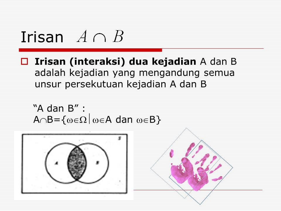 "Irisan  Irisan (interaksi) dua kejadian A dan B adalah kejadian yang mengandung semua unsur persekutuan kejadian A dan B ""A dan B"" : AB={A dan"