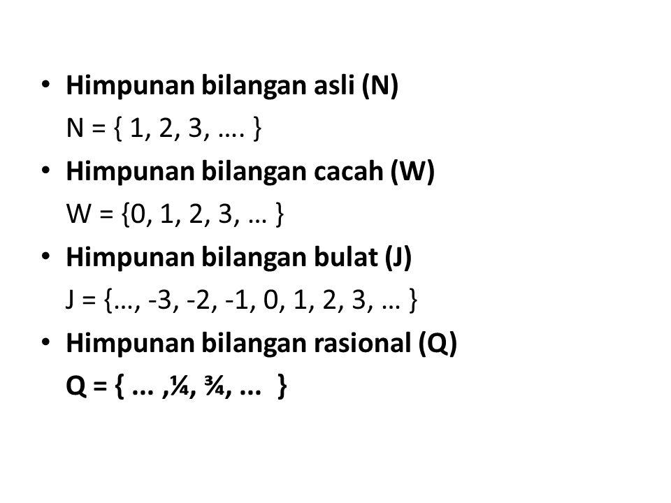 Himpunan bilangan asli (N) N = { 1, 2, 3, …. } Himpunan bilangan cacah (W) W = {0, 1, 2, 3, … } Himpunan bilangan bulat (J) J = {…, -3, -2, -1, 0, 1,