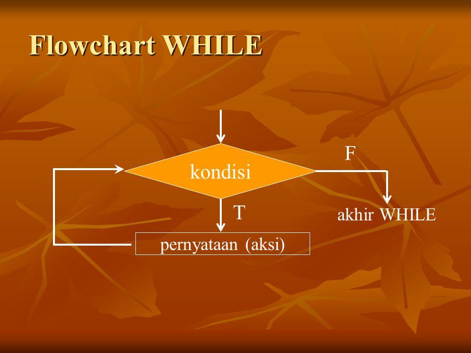 Flowchart WHILE kondisi pernyataan (aksi) akhir WHILE F T