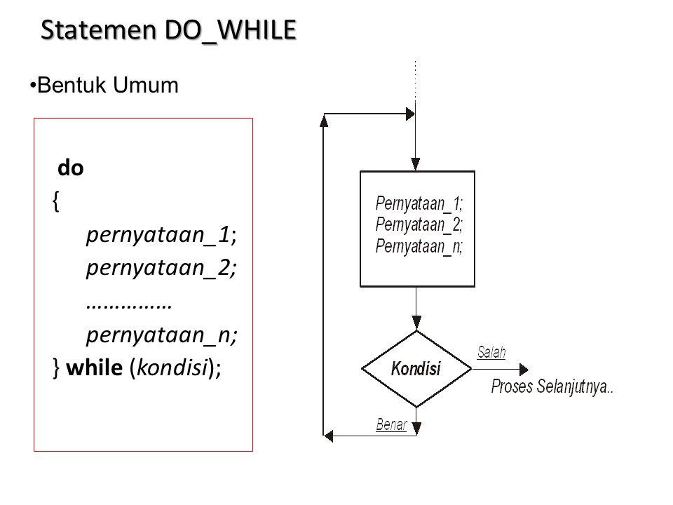 Statemen DO_WHILE do { pernyataan_1; pernyataan_2; …………… pernyataan_n; } while (kondisi); Bentuk Umum