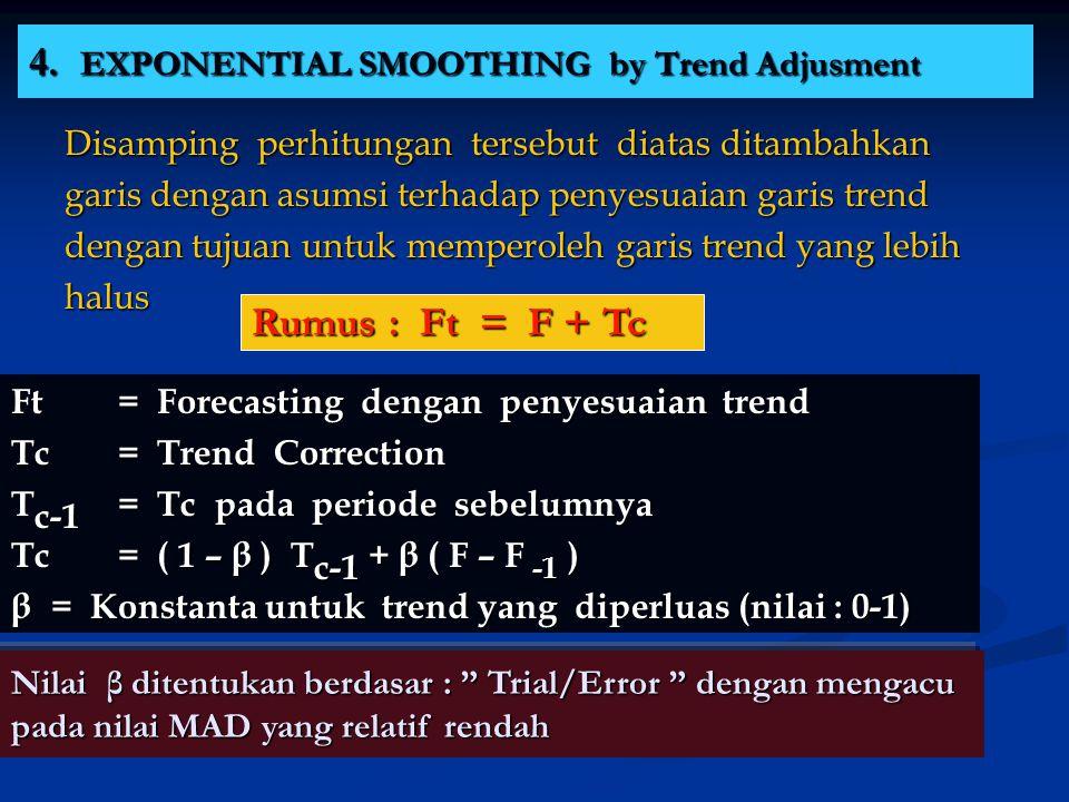 4. EXPONENTIAL SMOOTHING by Trend Adjusment Disamping perhitungan tersebut diatas ditambahkan garis dengan asumsi terhadap penyesuaian garis trend den