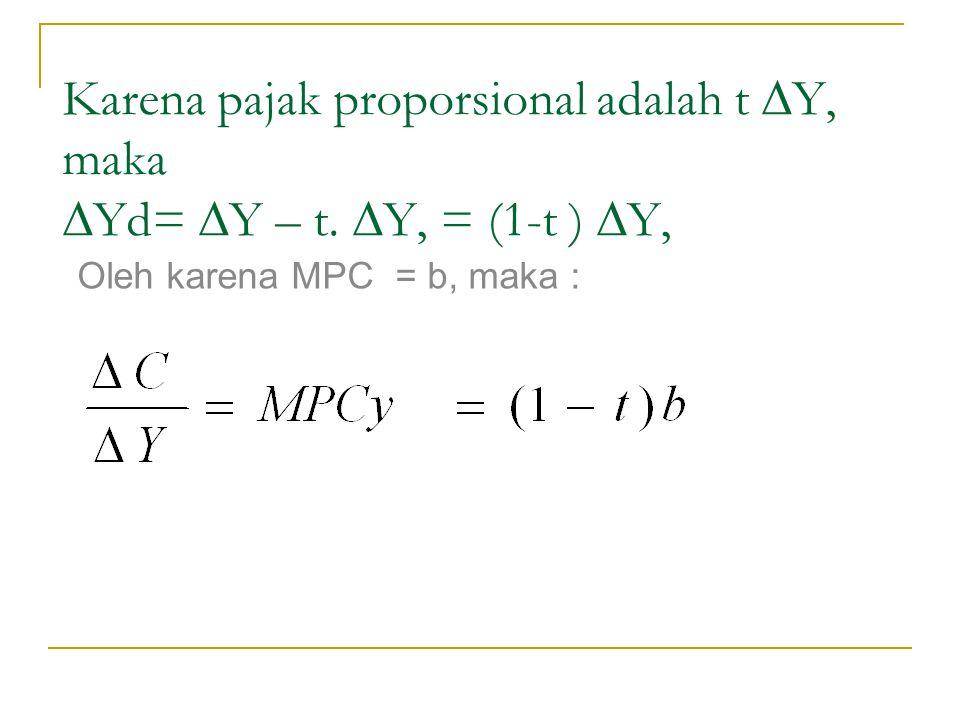 Karena pajak proporsional adalah t ∆Y, maka ∆Yd= ∆Y – t. ∆Y, = (1-t ) ∆Y, Oleh karena MPC = b, maka :
