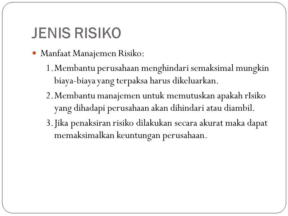 JENIS RISIKO Manfaat Manajemen Risiko: 1.Membantu perusahaan menghindari semaksimal mungkin biaya-biaya yang terpaksa harus dikeluarkan. 2.Membantu ma