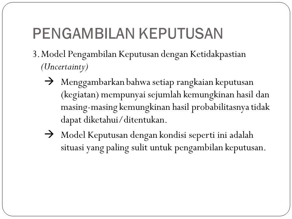 PENGAMBILAN KEPUTUSAN 3.Model Pengambilan Keputusan dengan Ketidakpastian (Uncertainty)  Menggambarkan bahwa setiap rangkaian keputusan (kegiatan) me