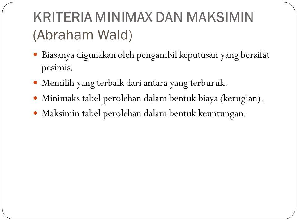 KRITERIA MINIMAX DAN MAKSIMIN (Abraham Wald)  Biasanya digunakan oleh pengambil keputusan yang bersifat pesimis. Memilih yang terbaik dari antara yan