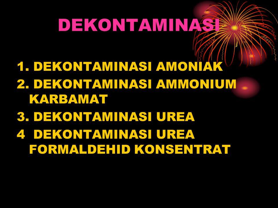 DEKONTAMINASI 1. DEKONTAMINASI AMONIAK 2. DEKONTAMINASI AMMONIUM KARBAMAT 3. DEKONTAMINASI UREA 4 DEKONTAMINASI UREA FORMALDEHID KONSENTRAT