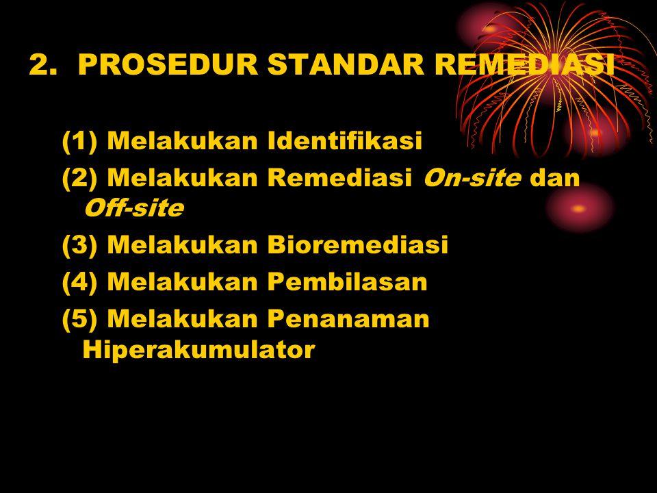 2. PROSEDUR STANDAR REMEDIASI (1) Melakukan Identifikasi (2) Melakukan Remediasi On-site dan Off-site (3) Melakukan Bioremediasi (4) Melakukan Pembila