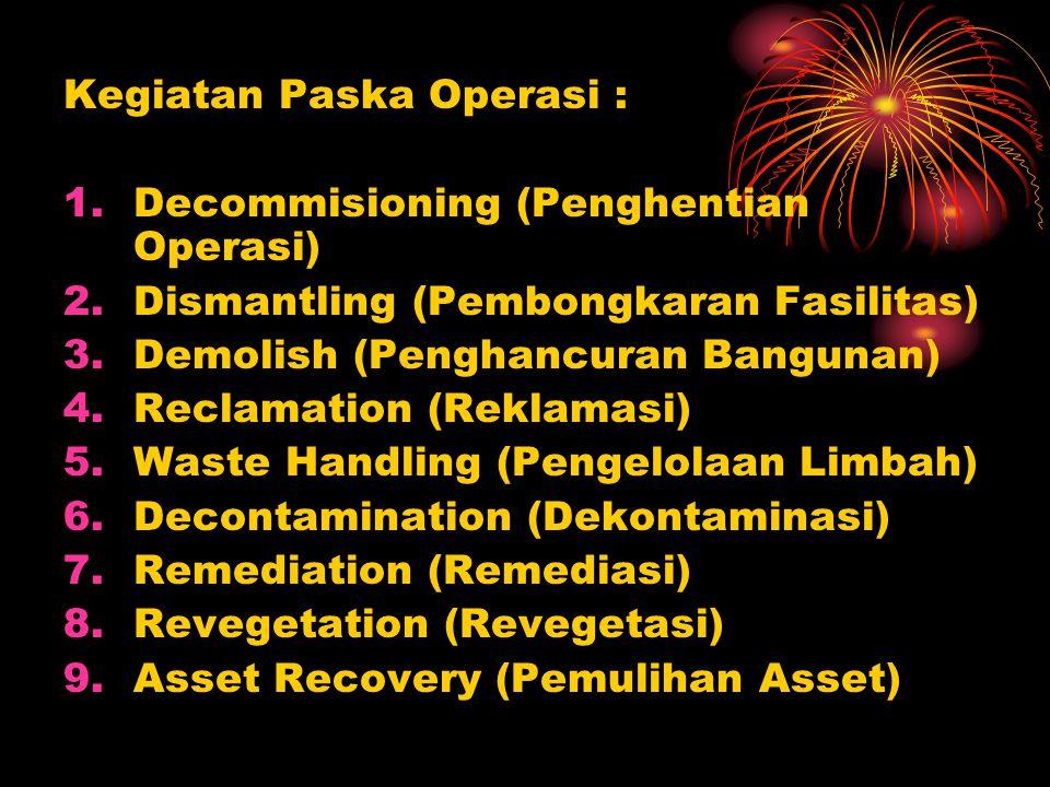 Kegiatan Paska Operasi : 1.Decommisioning (Penghentian Operasi) 2.Dismantling (Pembongkaran Fasilitas) 3.Demolish (Penghancuran Bangunan) 4.Reclamation (Reklamasi) 5.Waste Handling (Pengelolaan Limbah) 6.Decontamination (Dekontaminasi) 7.Remediation (Remediasi) 8.Revegetation (Revegetasi) 9.Asset Recovery (Pemulihan Asset)