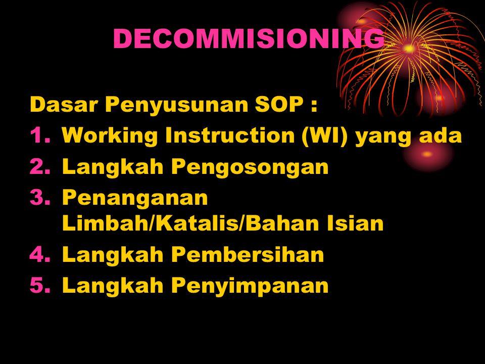 DECOMMISIONING Dasar Penyusunan SOP : 1.Working Instruction (WI) yang ada 2.Langkah Pengosongan 3.Penanganan Limbah/Katalis/Bahan Isian 4.Langkah Pembersihan 5.Langkah Penyimpanan