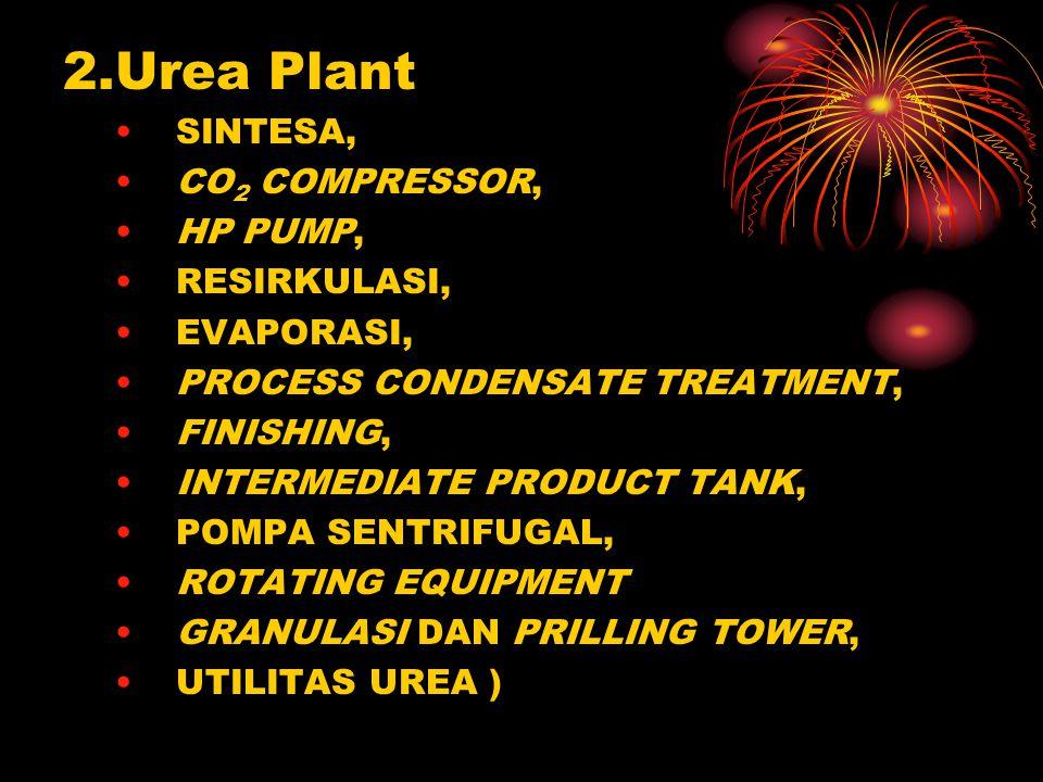 2.Urea Plant SINTESA, CO 2 COMPRESSOR, HP PUMP, RESIRKULASI, EVAPORASI, PROCESS CONDENSATE TREATMENT, FINISHING, INTERMEDIATE PRODUCT TANK, POMPA SENTRIFUGAL, ROTATING EQUIPMENT GRANULASI DAN PRILLING TOWER, UTILITAS UREA )