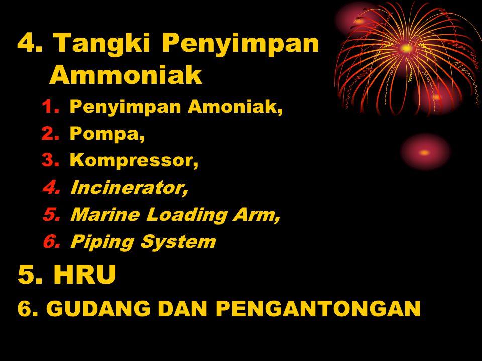 4. Tangki Penyimpan Ammoniak 1.Penyimpan Amoniak, 2.Pompa, 3.Kompressor, 4.Incinerator, 5.Marine Loading Arm, 6.Piping System 5. HRU 6. GUDANG DAN PEN