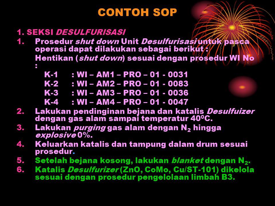 CONTOH SOP 1. SEKSI DESULFURISASI 1.Prosedur shut down Unit Desulfurisasi untuk pasca operasi dapat dilakukan sebagai berikut : Hentikan (shut down) s