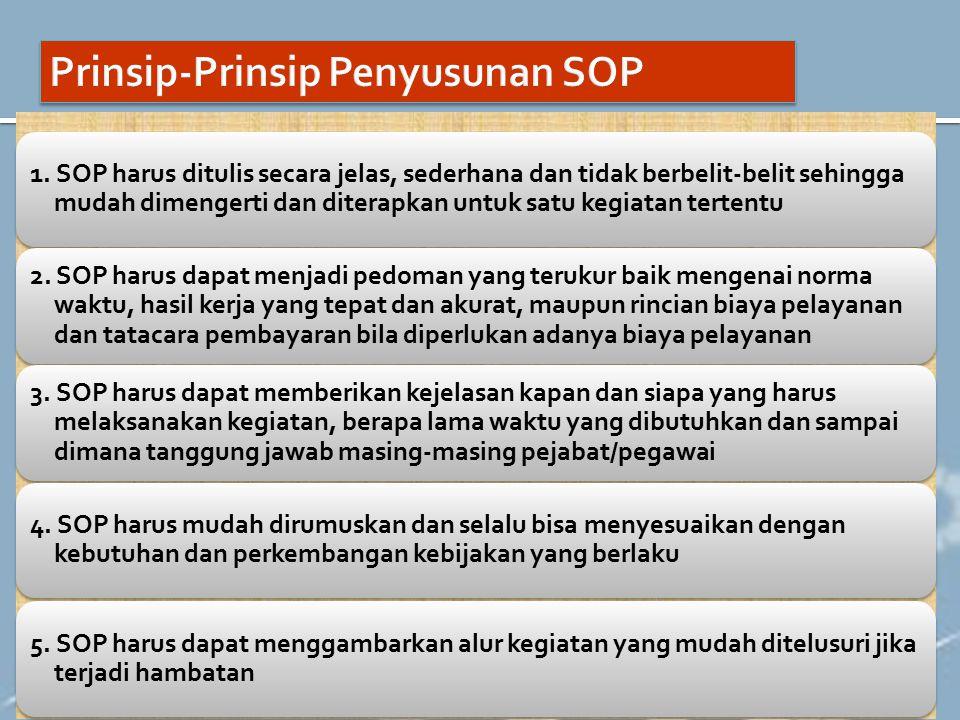 1. SOP harus ditulis secara jelas, sederhana dan tidak berbelit-belit sehingga mudah dimengerti dan diterapkan untuk satu kegiatan tertentu 2. SOP har