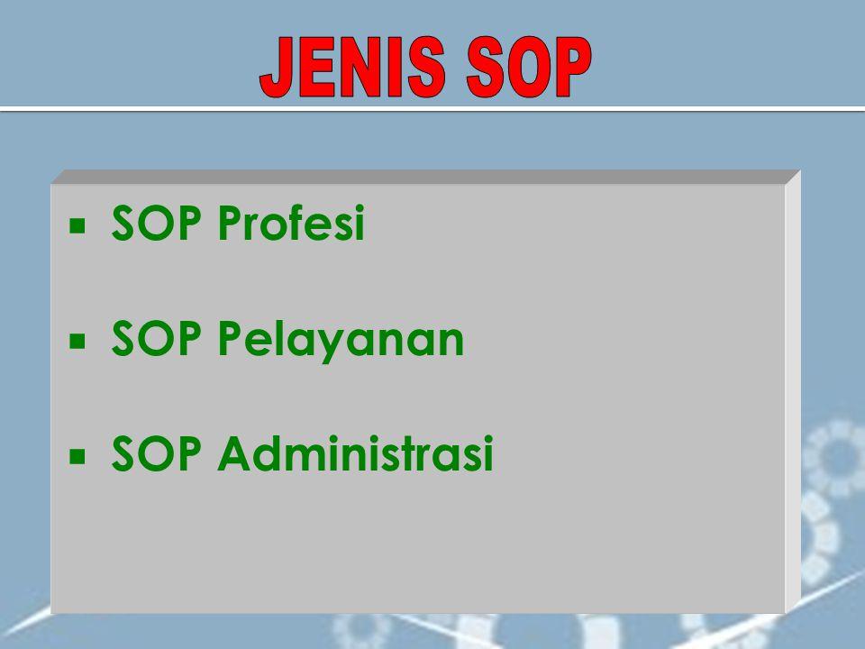  SOP Profesi  SOP Pelayanan  SOP Administrasi
