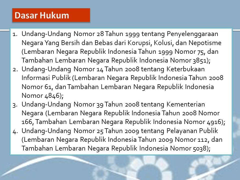 1.Undang-Undang Nomor 28 Tahun 1999 tentang Penyelenggaraan Negara Yang Bersih dan Bebas dari Korupsi, Kolusi, dan Nepotisme (Lembaran Negara Republik