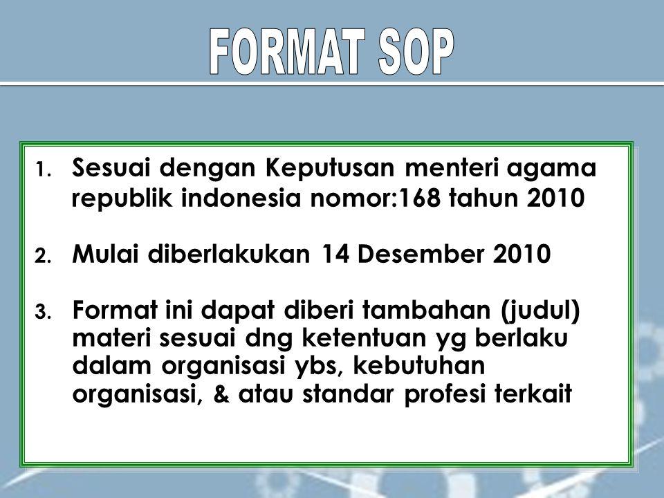 1. Sesuai dengan Keputusan menteri agama republik indonesia nomor:168 tahun 2010 2. Mulai diberlakukan 14 Desember 2010 3. Format ini dapat diberi tam