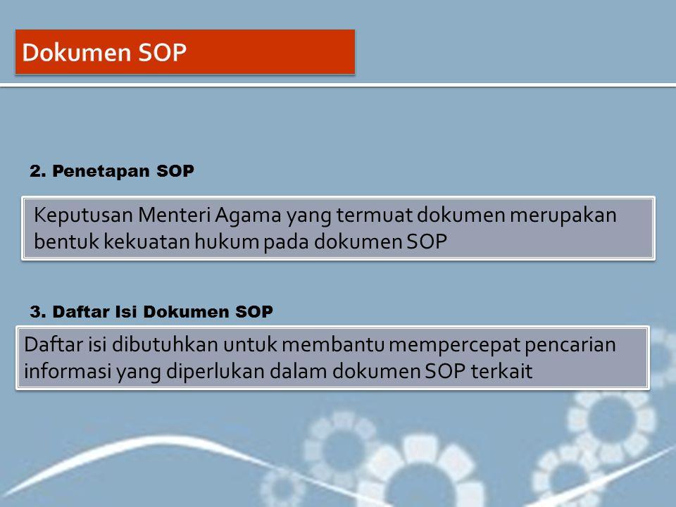 Keputusan Menteri Agama yang termuat dokumen merupakan bentuk kekuatan hukum pada dokumen SOP Daftar isi dibutuhkan untuk membantu mempercepat pencari