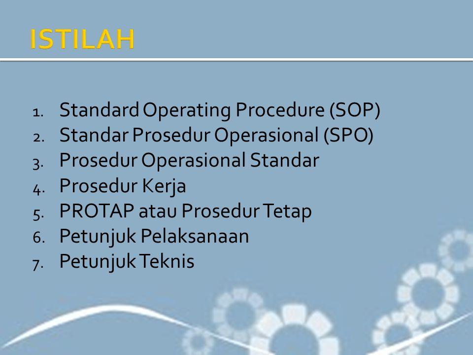 1. Standard Operating Procedure (SOP) 2. Standar Prosedur Operasional (SPO) 3. Prosedur Operasional Standar 4. Prosedur Kerja 5. PROTAP atau Prosedur