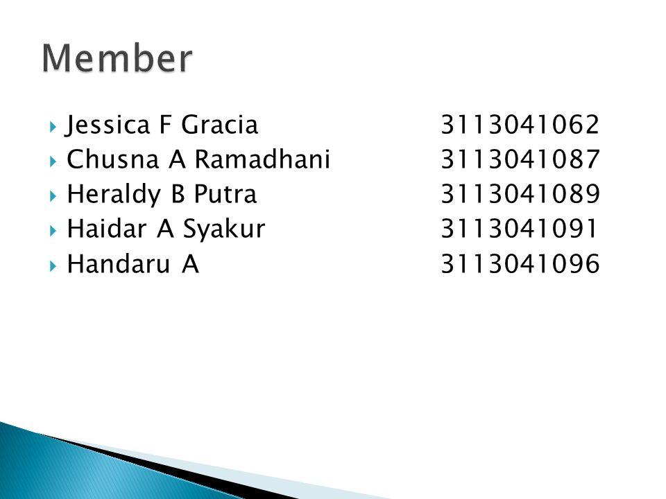  Jessica F Gracia3113041062  Chusna A Ramadhani3113041087  Heraldy B Putra3113041089  Haidar A Syakur3113041091  Handaru A3113041096