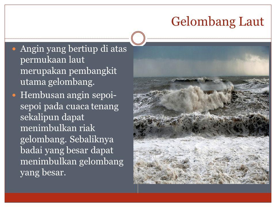 Gelombang Laut Angin yang bertiup di atas permukaan laut merupakan pembangkit utama gelombang. Hembusan angin sepoi- sepoi pada cuaca tenang sekalipun
