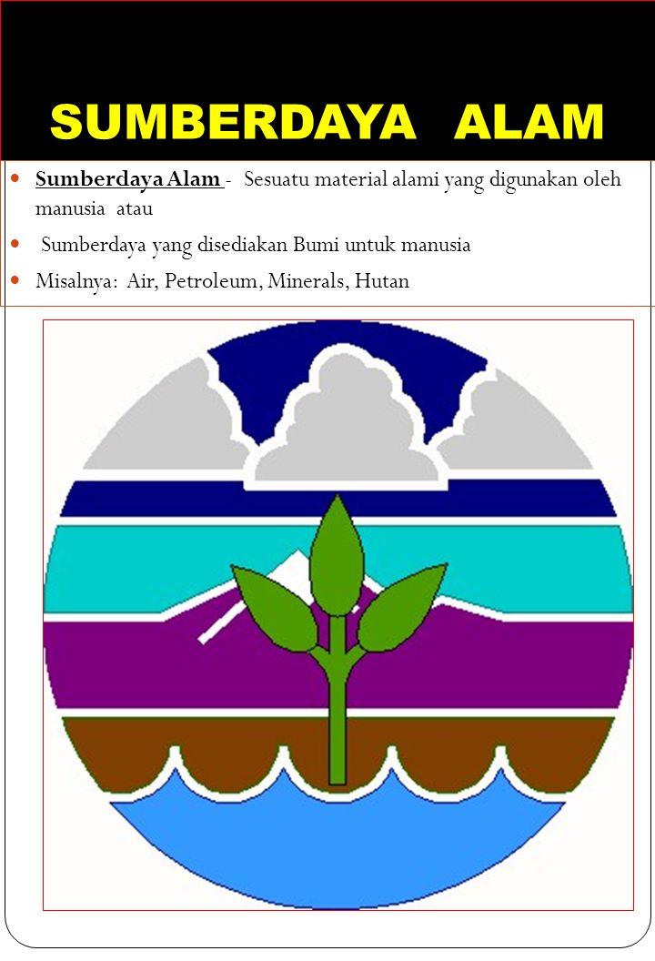 SUMBERDAYA ALAM Sumberdaya Alam - Sesuatu material alami yang digunakan oleh manusia atau Sumberdaya yang disediakan Bumi untuk manusia Misalnya: Air,