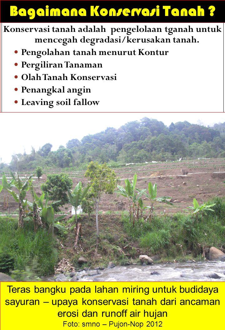 Bagaimana Konservasi Tanah ? Konservasi tanah adalah pengelolaan tganah untuk mencegah degradasi/kerusakan tanah. Pengolahan tanah menurut Kontur Perg